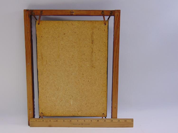 Lot 21: Vintage John Wayne Wood and Leather Framed Print