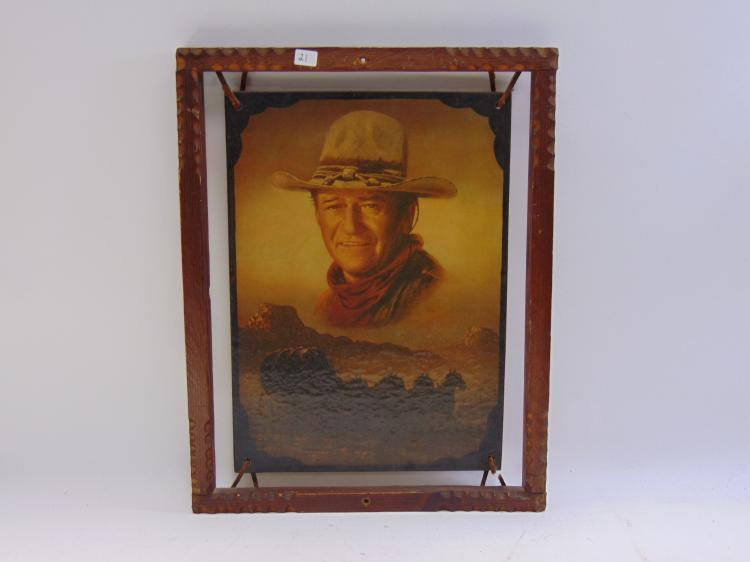 Vintage John Wayne Wood and Leather Framed Print