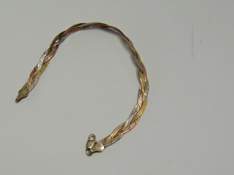 """Lot 28: Sterling Silver and Gold Tone Milor Woven 7.5"""" Bracelet"""