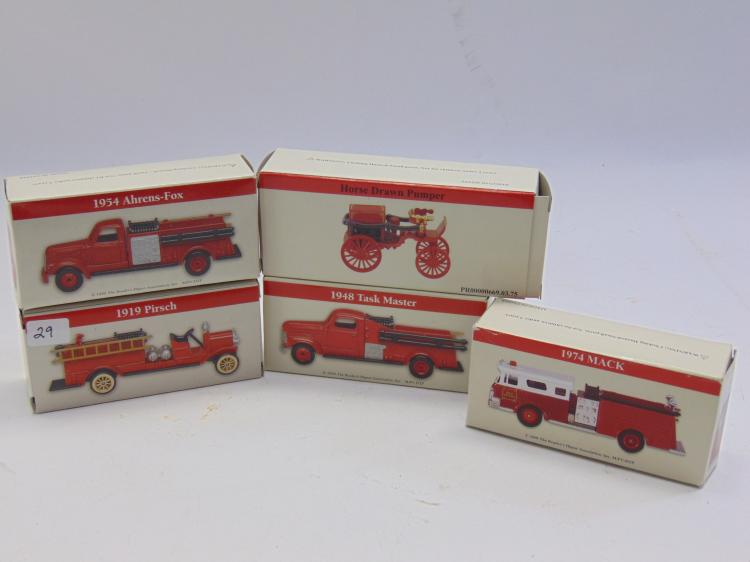 Lot of 5 Reader's Digest Fire Truck Models in the Box