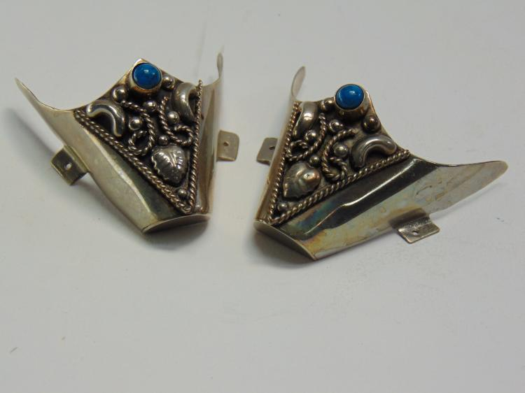 Lot 33: Vintage Mexican Made Alpaca and Turquoise Rockabilly Cowboy Boot Tips