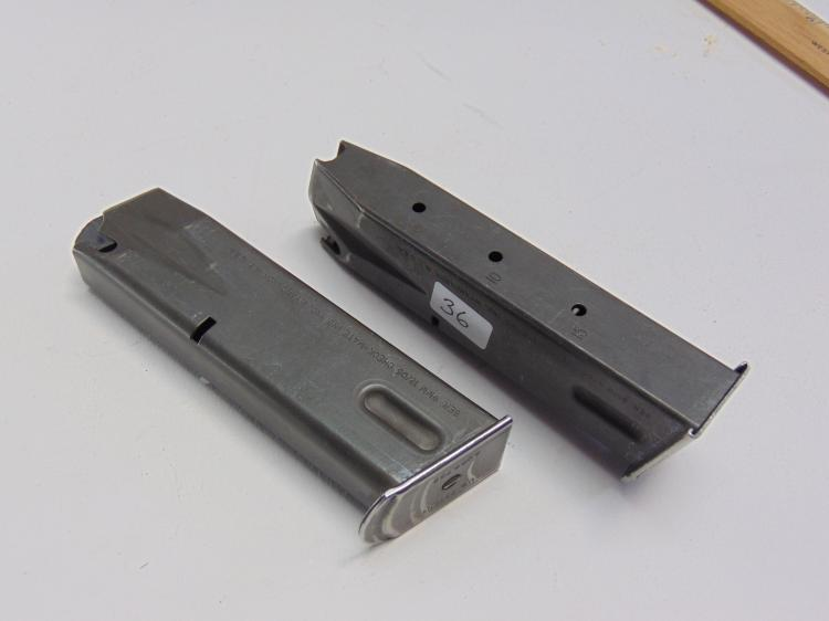 Lot 36: Lot of 2 Check Mate Beretta 9mm Police Issue 10 Round Pistol Magazine Clips