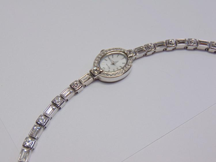 "Bulova Stainless Steel and Cubic Zirconia 7"" Bracelet Watch"