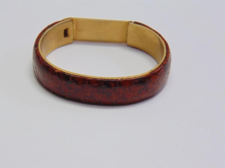 Marc Antony Caggiano Italian Made Snake Skin and Brass Bracelet