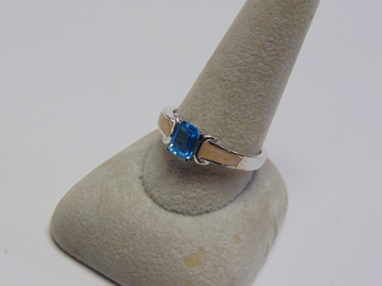 Lot 54: Sterling Silver Topaz & Enamel Ring Sz 11