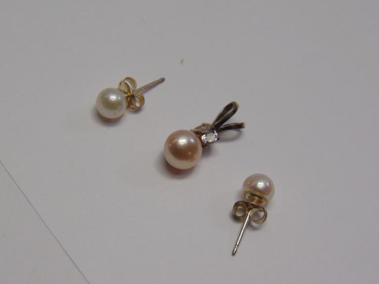 Sterling Silver Pearl & Cubic Zirconia Pendant and Post Earring Set