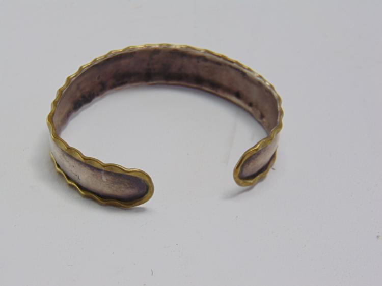 Lot 58: 12.1 Gram Sterling Silver and Hammered Brass Cuff Bracelet