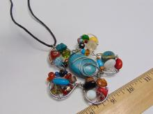 Lot 59: Huge Hand Made Costume Jewelry Bead and Stone Flower Necklace
