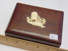 Lot 61: Vintage Carved Wood Box and Carved Elephant Ivory Fishing Junk Boat