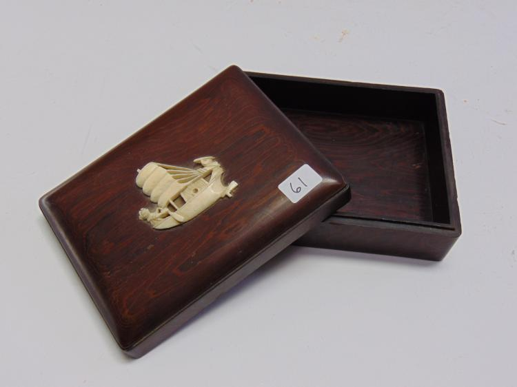 Vintage Carved Wood Box and Carved Elephant Ivory Fishing Junk Boat