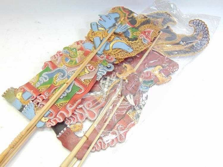 Lot of 2 Drupadi Paper and Wood Moveable Balinese Shadow Puppets