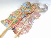 Lot 66: Lot of 2 Drupadi Paper and Wood Moveable Balinese Shadow Puppets