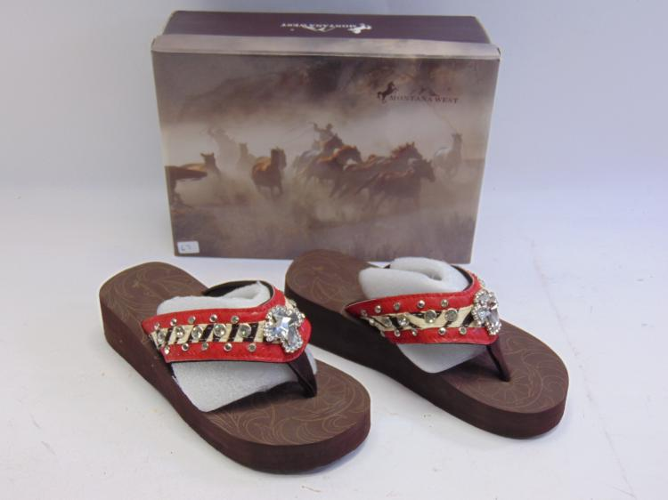 New in Box Montana West Red Cross Zebra Bling Women's Wedge Flip Flops Sz 7