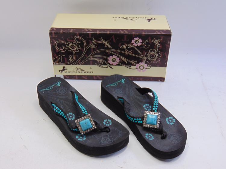 New in Box Montana West Turquoise Bling Women's Wedge Flip Flops Sz 7