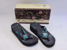 Lot 68: New in Box Montana West Turquoise Bling Women's Wedge Flip Flops Sz 7