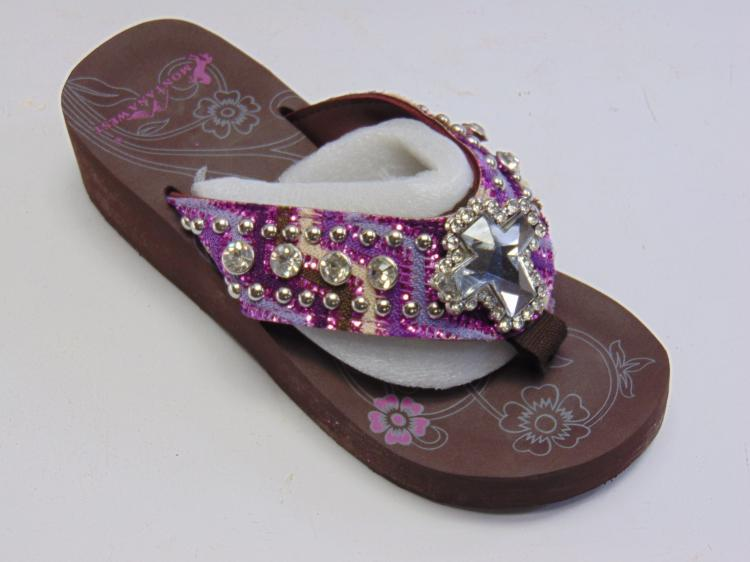 Lot 70: New in Box Montana West Purple Bling Thong Women's Wedge Flip Flops Sz 7