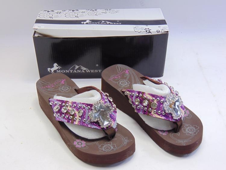 New in Box Montana West Purple Bling Thong Women's Wedge Flip Flops Sz 7