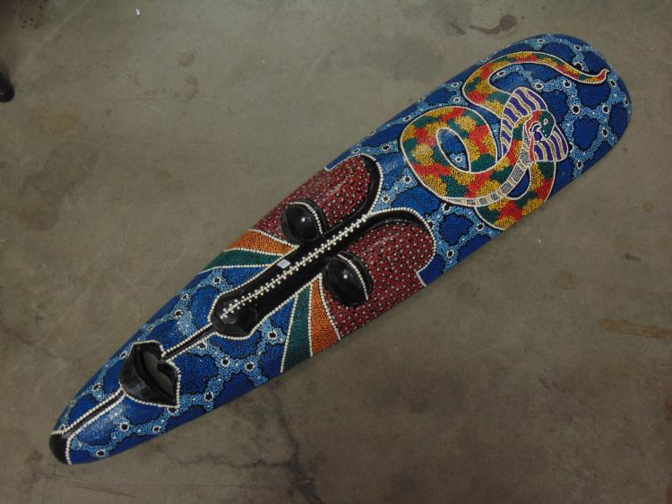 Large Carved Wood and Hand Painted Indonesian Snake Tribal Mask
