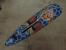 Lot 71: Large Carved Wood and Hand Painted Indonesian Snake Tribal Mask