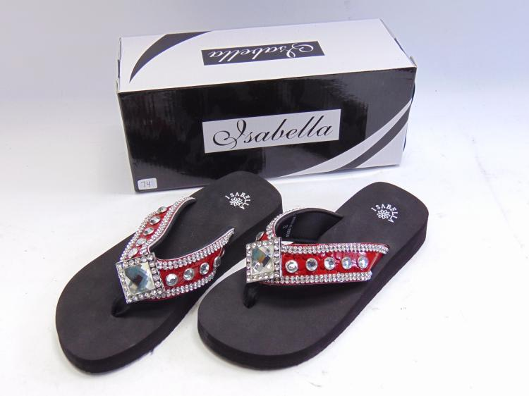 New in Box Isabella Red Diamond Bling Flip Flops Sz Small