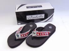 Lot 74: New in Box Isabella Red Diamond Bling Flip Flops Sz Small
