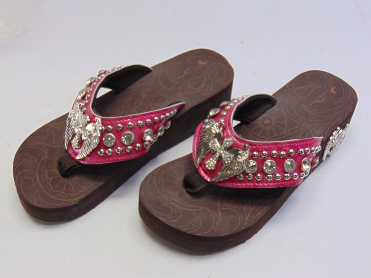 Montana West Hot Pink Wings and Cross Bling Thong Women's Wedge Flip Flops Sz 7
