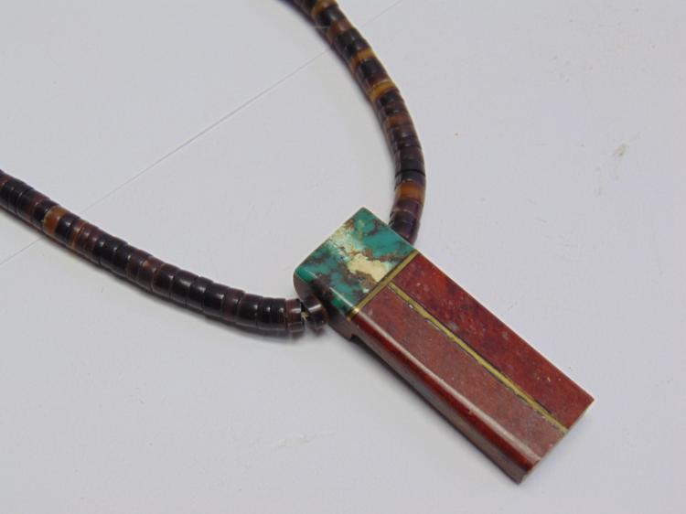 """Lot 92: Liquid Silver and Inlaid Stone 17"""" Necklace"""