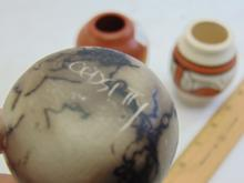 Lot 97: Lot of 4 Small Signed Native American Made Clay Painted and Incised Pots