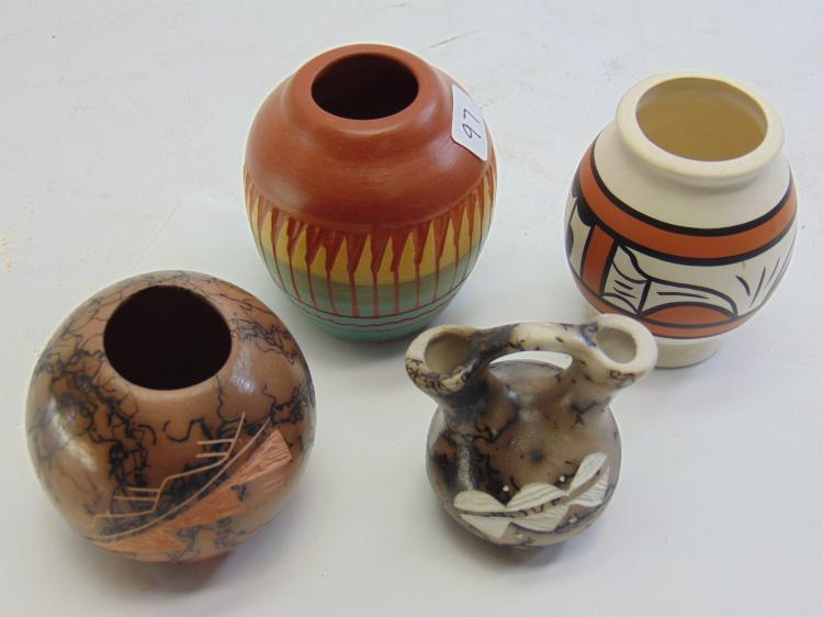 Lot of 4 Small Signed Native American Made Clay Painted and Incised Pots