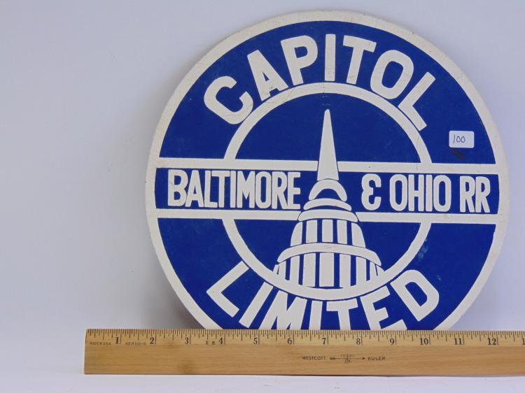 Lot 100: Baltimore and Ohio Railroad Capitol Limited Masonite Sign