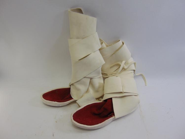Lot 108: Hand Made Leather Calf High Native American Moccasins