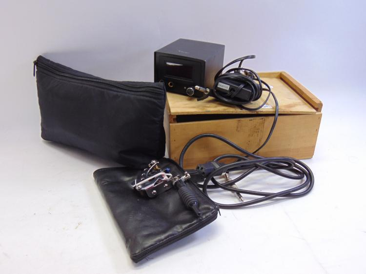 Large Lot of Two Devil Tattoo Gun Power Supply Foot Pedal, and Supplies