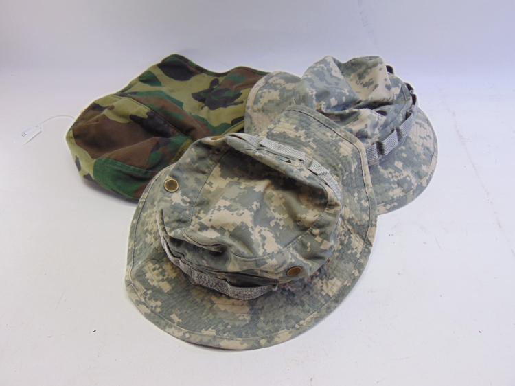 Lot of Digital Camo Military Hats and Insulated Camouflage Helmet Liner