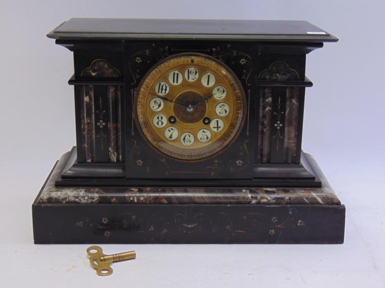 Beautiful Antique Duhme and Co Mantle Clock in Marble Case