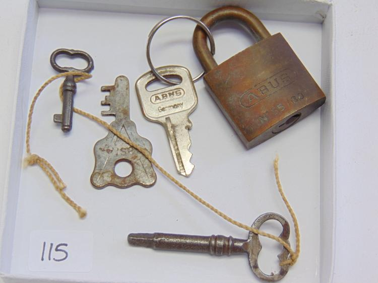 Abus No 55 Lock and Vintage Skeleton Keys