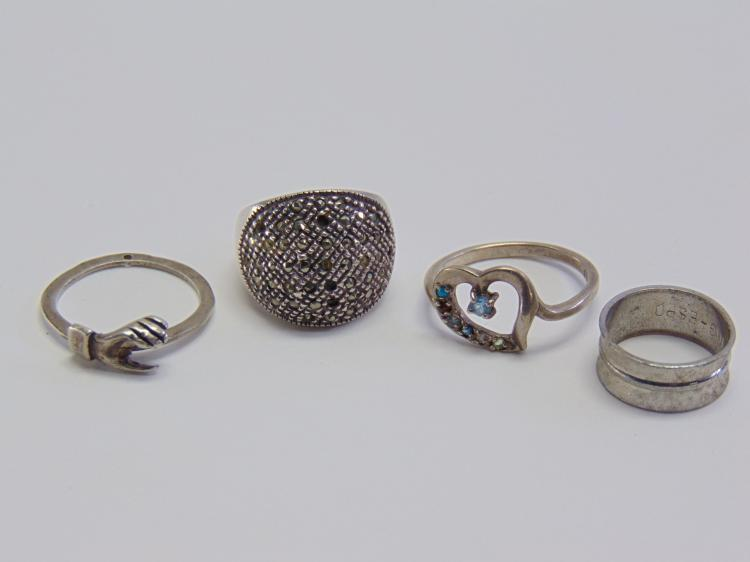 16.2 Gram Lot of 4 Sterling Silver Rings Sz 5-10.5