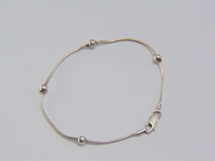 Sterling Silver Ball and Chain Bracelet