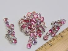 Lot 122: Vintage Eisenberg Rhinestone Costume Jewelry Brooch and Clip On Earrings
