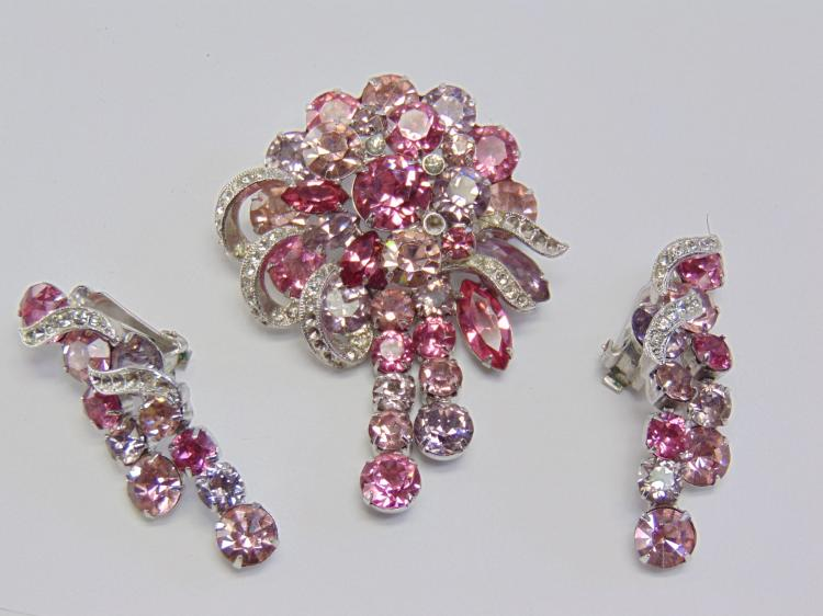 Vintage Eisenberg Rhinestone Costume Jewelry Brooch and Clip On Earrings