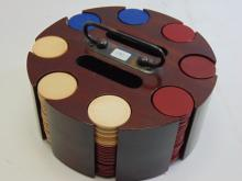 Lot 131: Vintage Bakelite Clay Composition Poker Chip Set In Wood Caddy