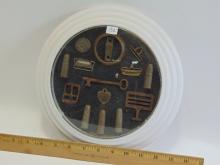 Lot 132: Assortment of Framed Dug Relics Including Shells Skeleton Key and Dog Tag