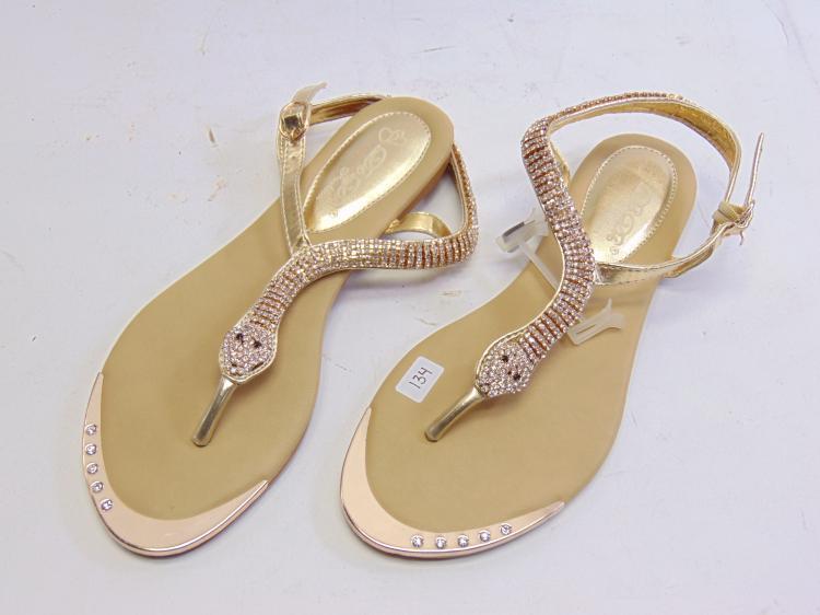Lot 134: Db Dk Fashion Sadyy-6 Women's Rhinestone Snake Sandals Sz 7