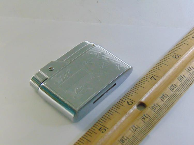 Vintage Austrian Made Bentley Silver Tone Engraved Leaves Lighter