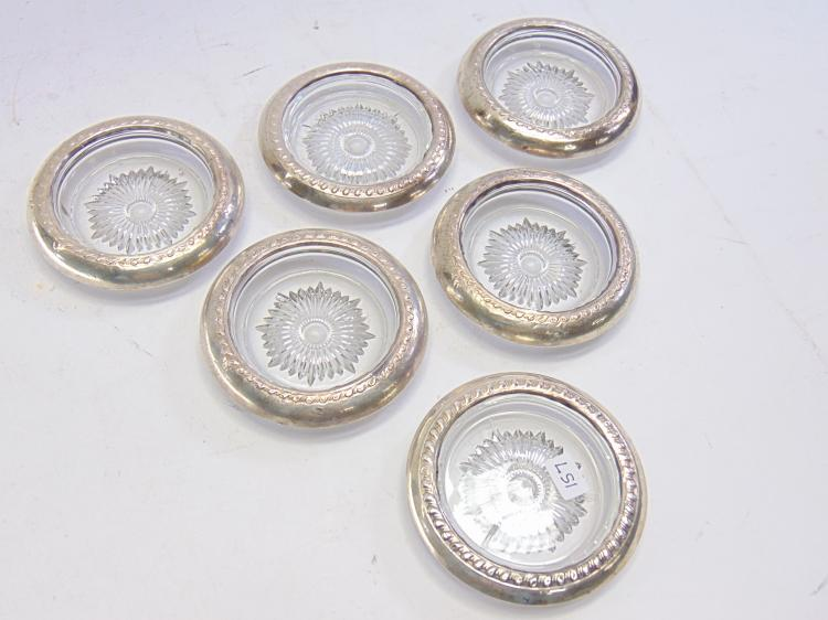 Set of 6 Sterling Silver Rimmed Cut Glass Coasters