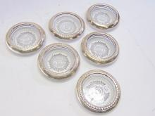 Lot 157: Set of 6 Sterling Silver Rimmed Cut Glass Coasters