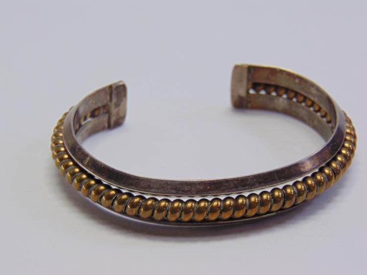 Sterling Silver and Brass 35.3 Gram Navajo Cuff Bracelet