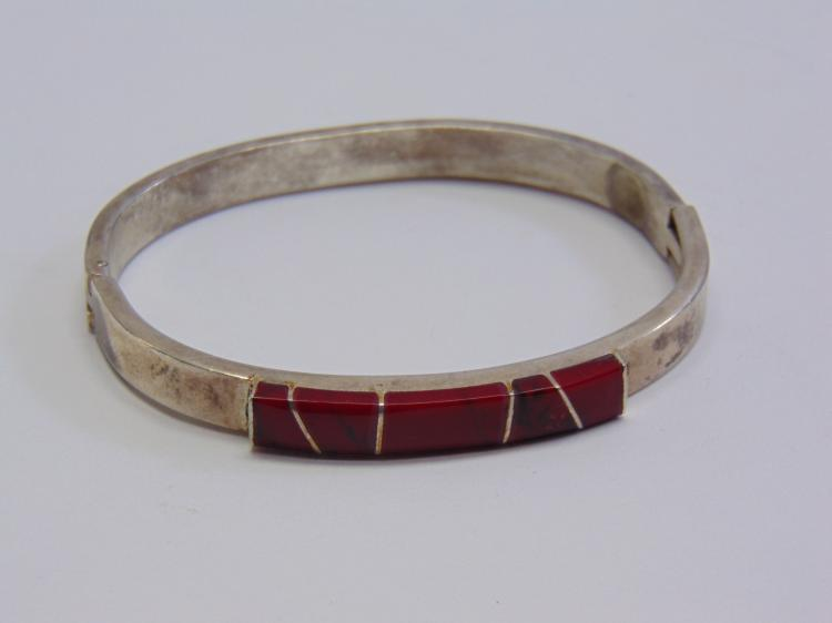 Silver Plated Cut Stone Bangle Bracelet