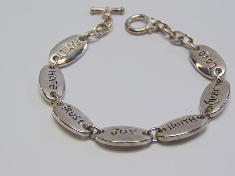 "Lot 162: Silver Plated Inspirational 8"" Bracelet"