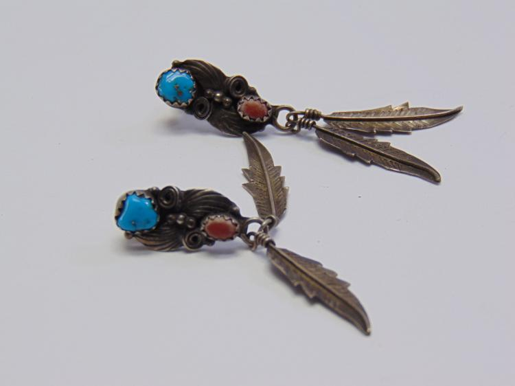 Vintage Navajo Sterling Silver & Turquoise Feather Dangle Earrings
