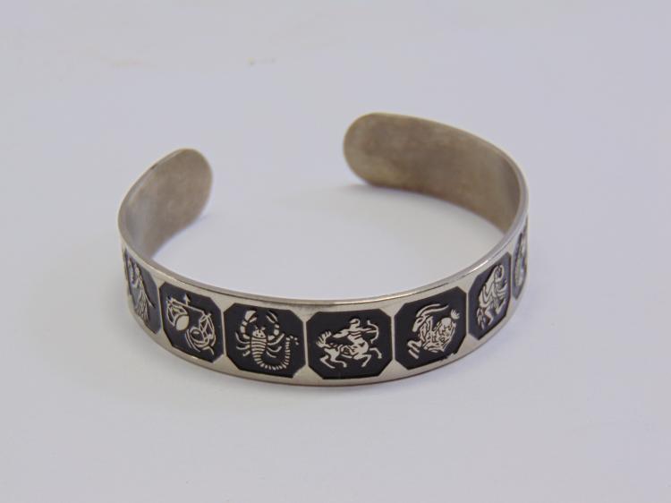 Silver Plated Enamel Zodiac Symbol Cuff Bracelet